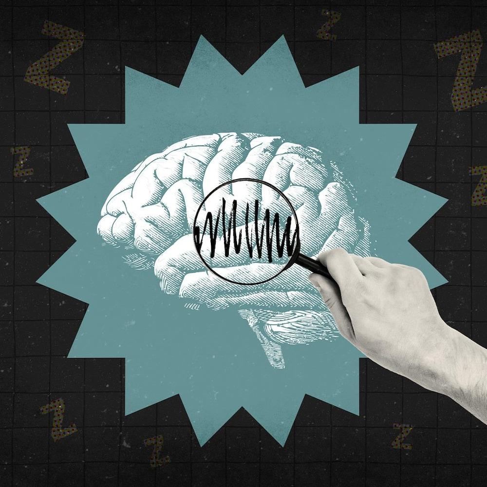 Montage numérique d'une main tenant une loupe qui analyse un cerveau.