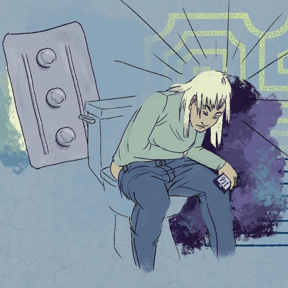 Le dessin d'une femme assise sur la toilette en douleur, téléphone à la main et prête à composer le 911.