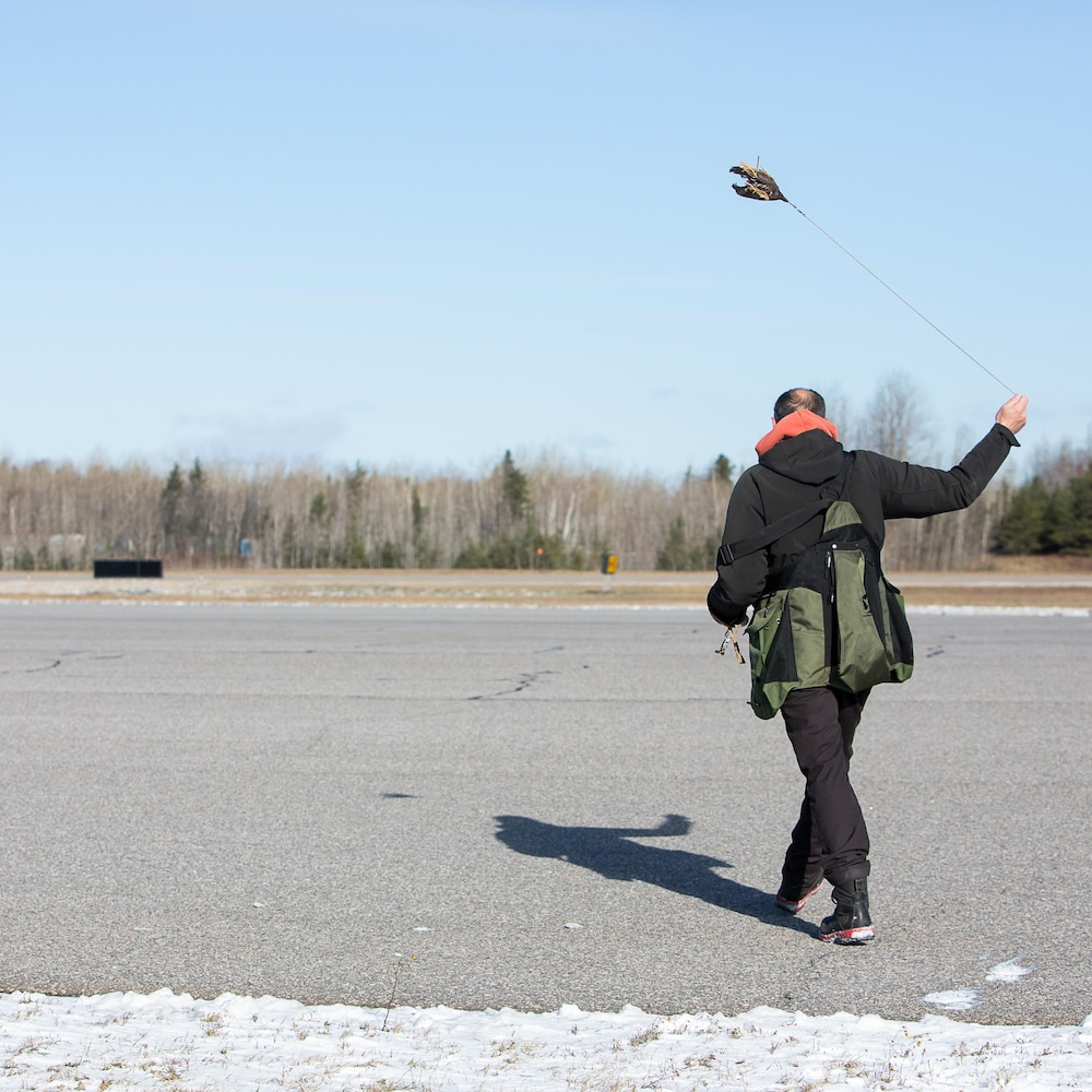 Le fauconnier fait tourner un leurre au bout d'une corde.