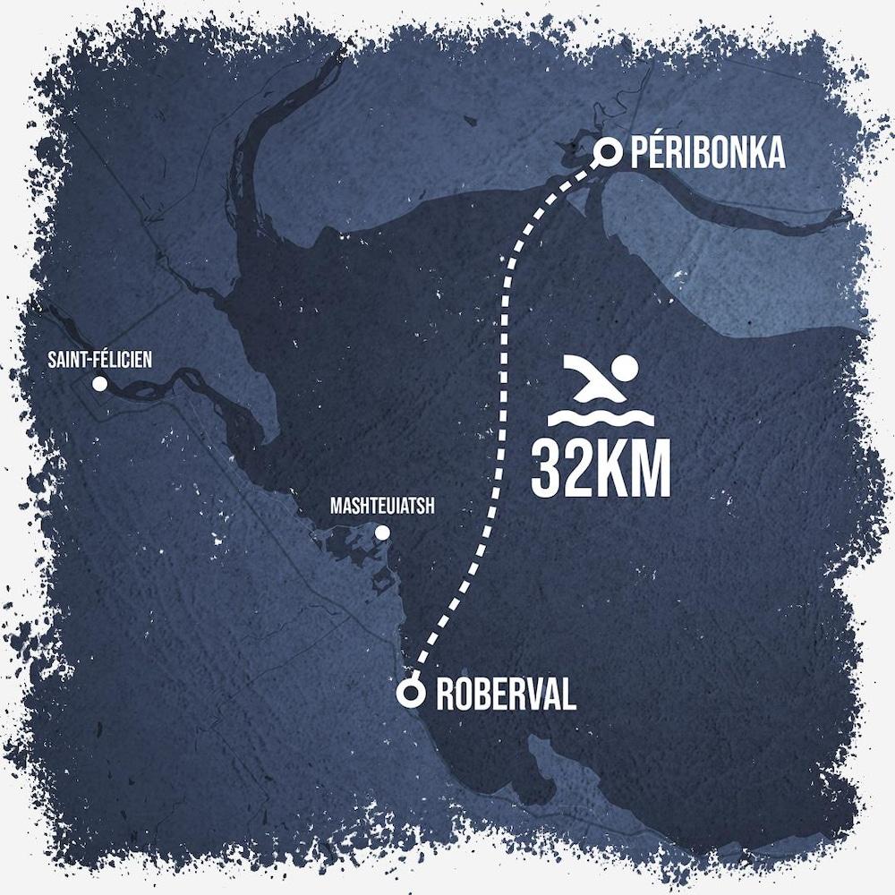 Carte représentant le trajet de la Traversée internationale du lac Saint-Jean.