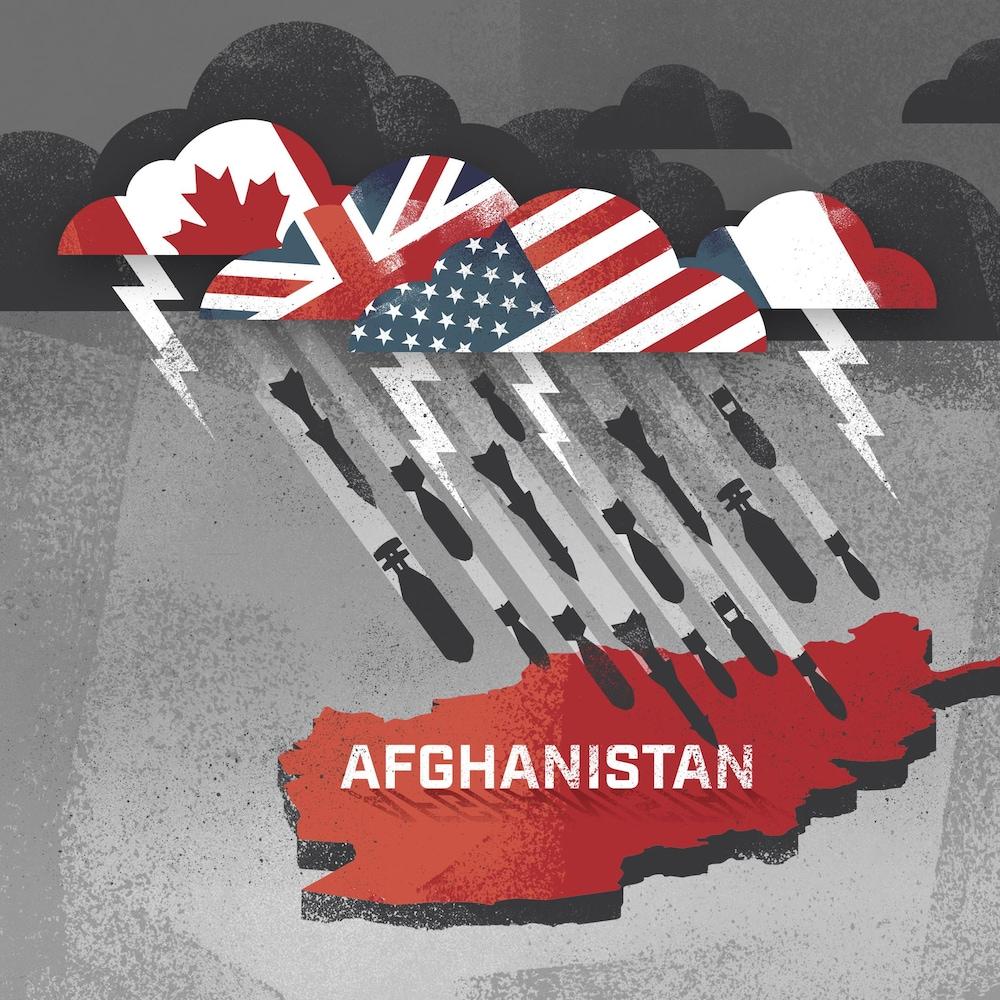 Une illustration de missiles qui tombent du ciel vers l'Afghanistan.