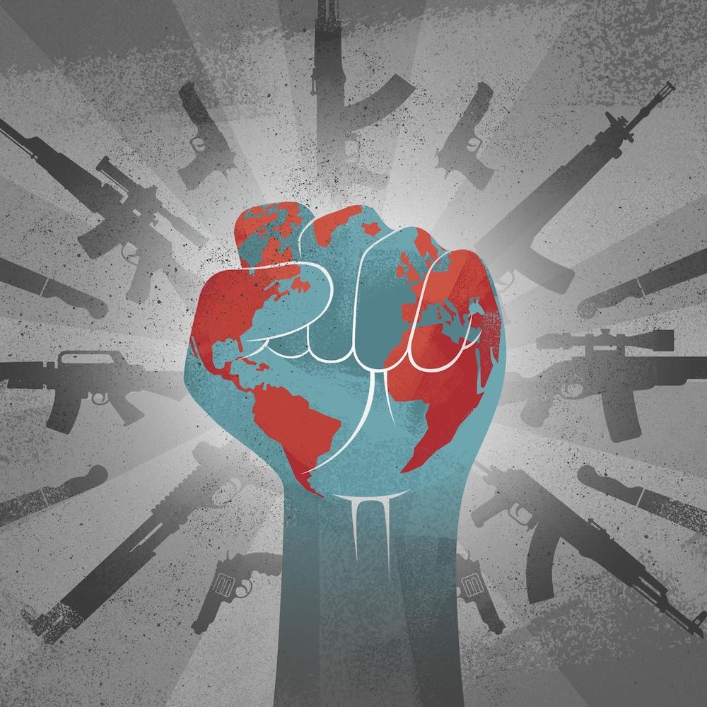 Une illustration d'un poing porté au ciel dans lequel des armes sont mises en valeur.