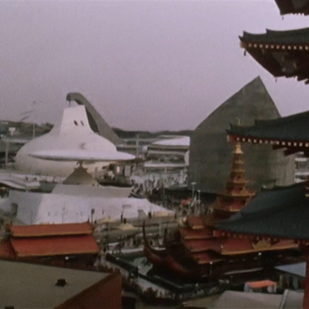 Vue d'ensemble des pavillons d'Expo 70 à Osaka au Japon.