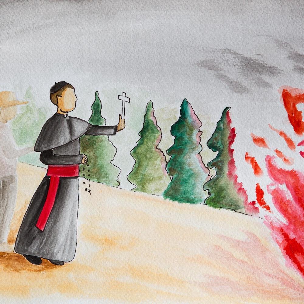 Mgr Dominique Racine brandit un crucifix devant les flammes.