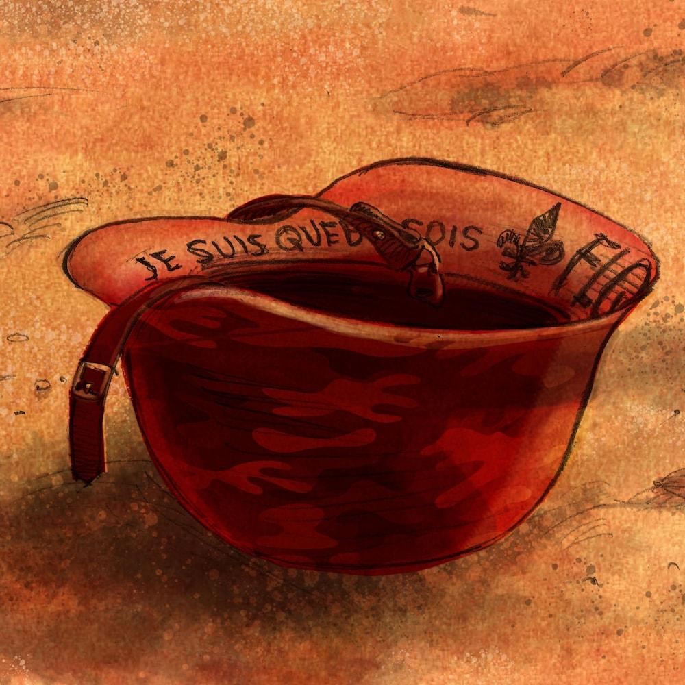 """Illustration d'un casque d'armée avec une inscription à l'intérieur qui dit : """"Je suis Québécois""""."""