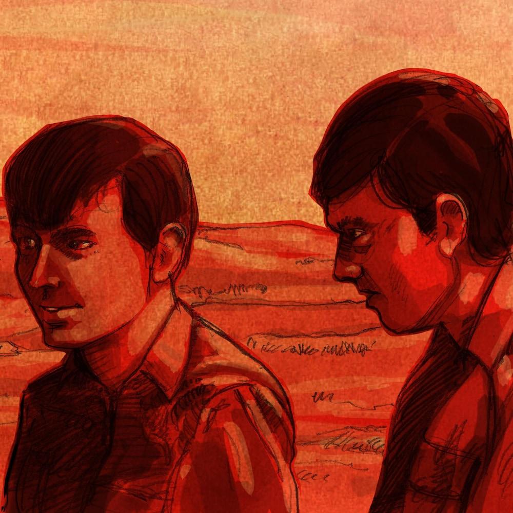 Illustration de Normand Roy et Michel Lambert à visage découvert.