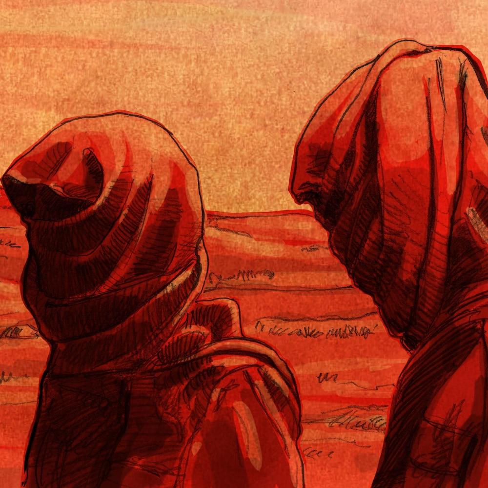 Illustration de deux hommes portant le keffieh.