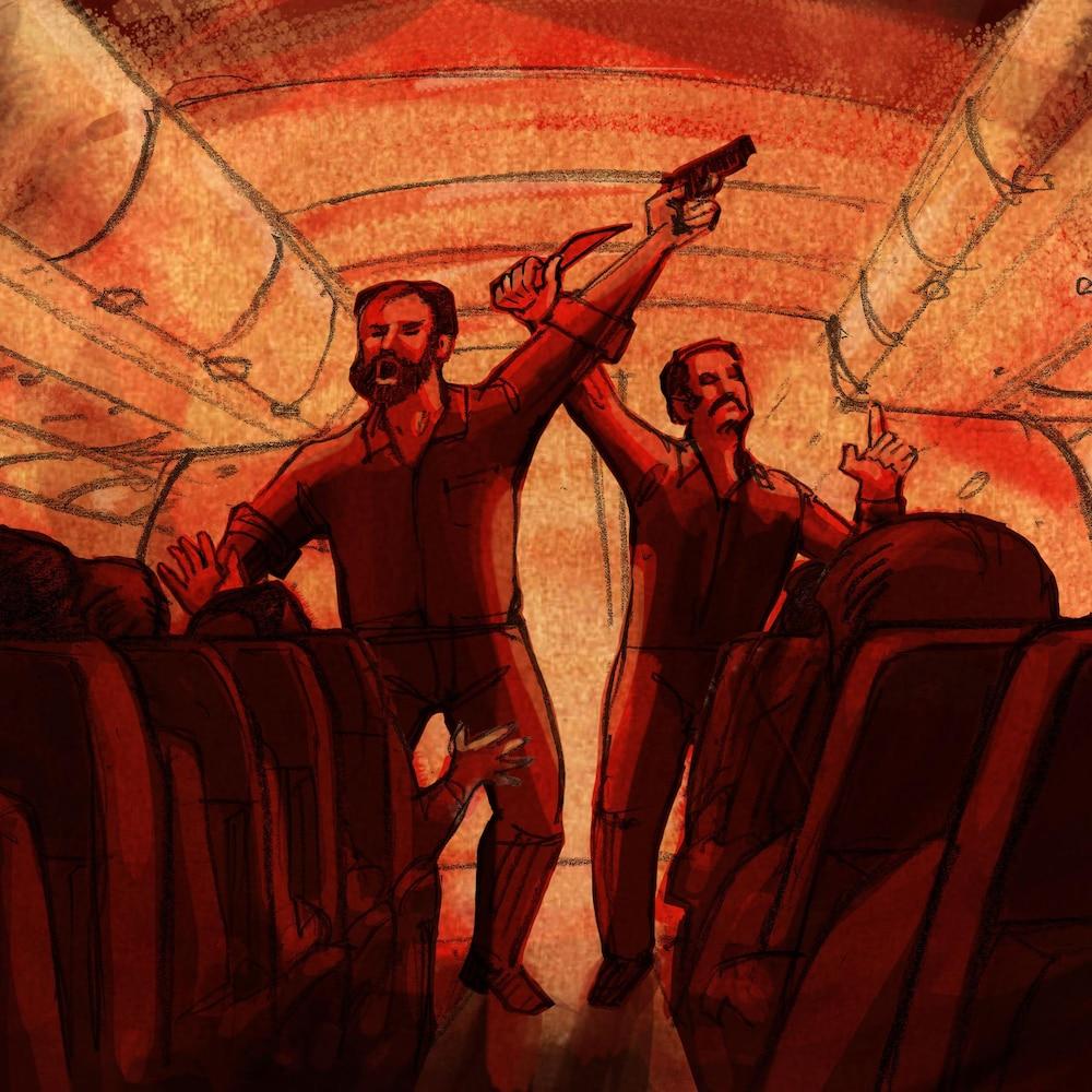 Deux hommes debout dans un avion crient et agitent un couteau et un revolver.