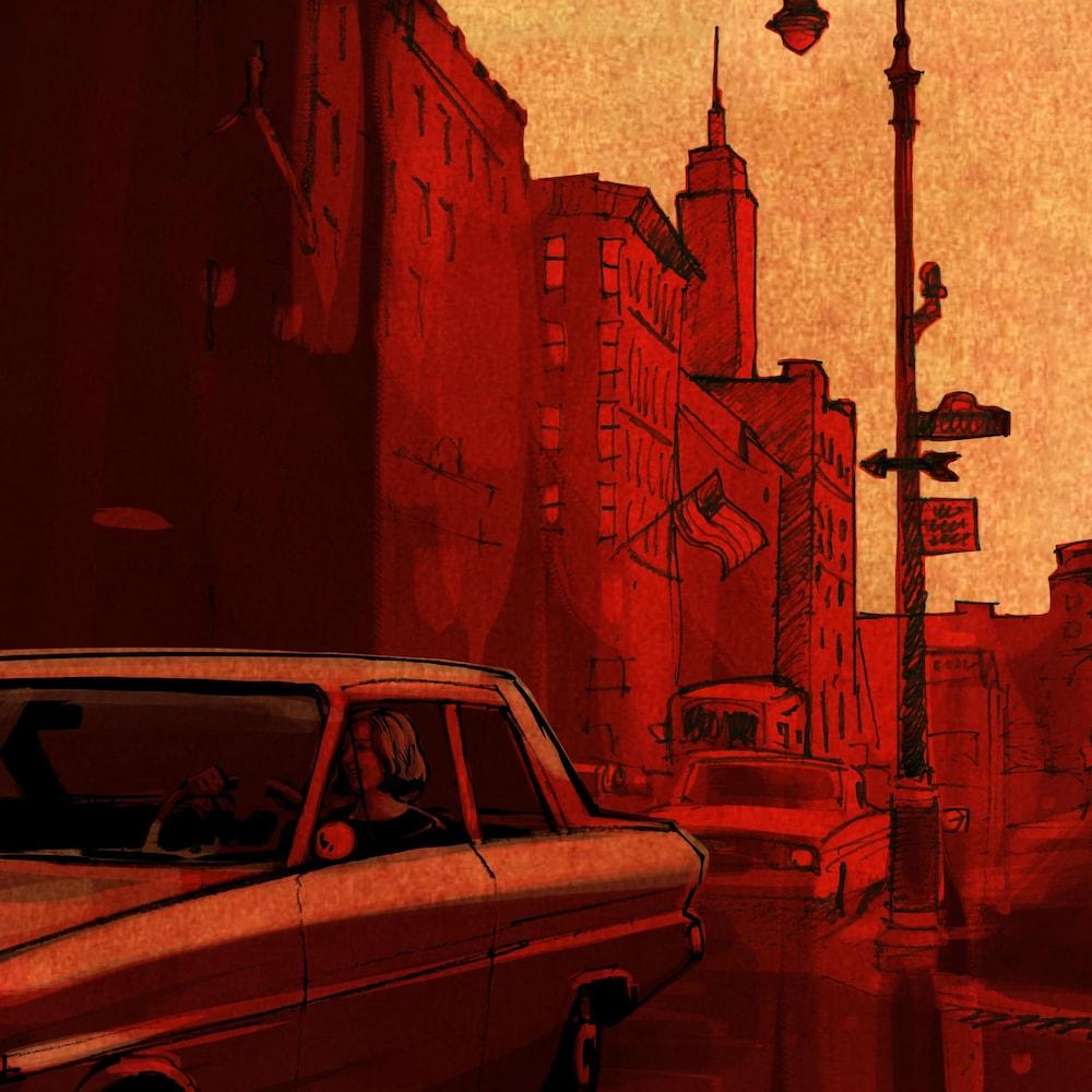 Illustration d'une voiture sur une rue où se dresse au loin l'Empire State Building.
