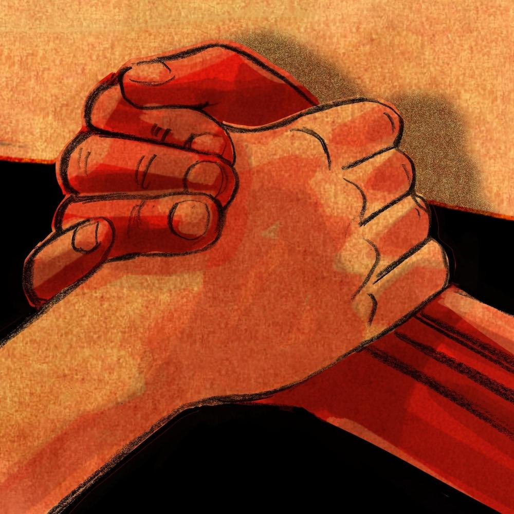 Une poignées de mains en gros plan.