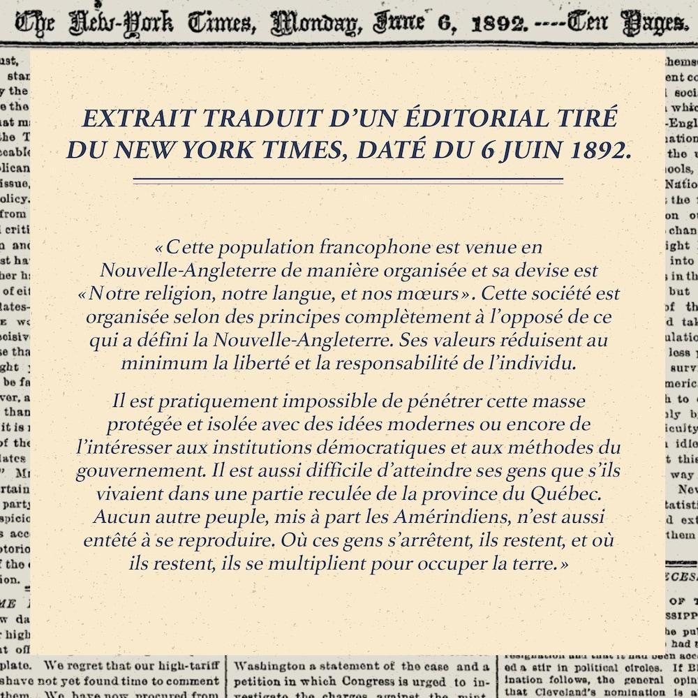 Extrait traduit d'un éditorial tiré du New York Times, daté du 6 juin 1892.