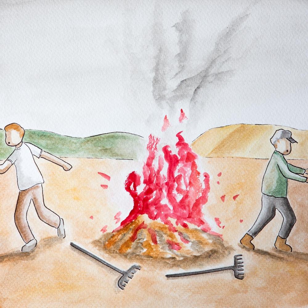Deux homme lâchent leurs outils et se sauvent.