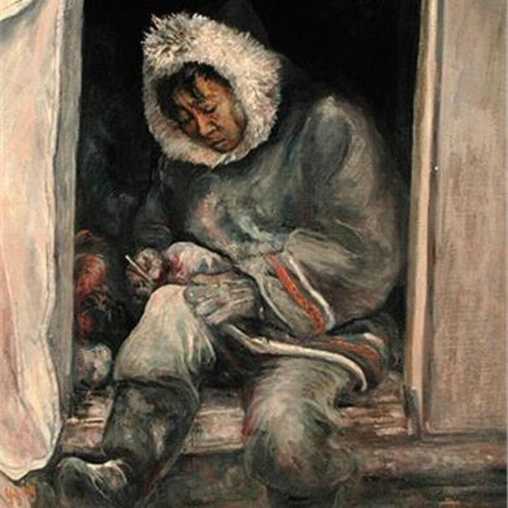 Une peinture représentant un homme en train de scultper quelque chose.