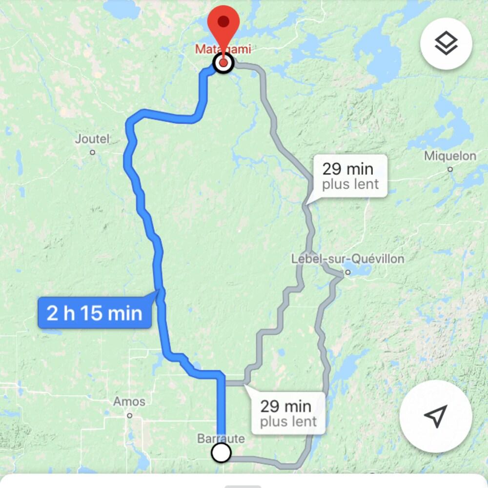 Capture d'écran de la route suggérée par Google Maps entre Barraute et Matagami.