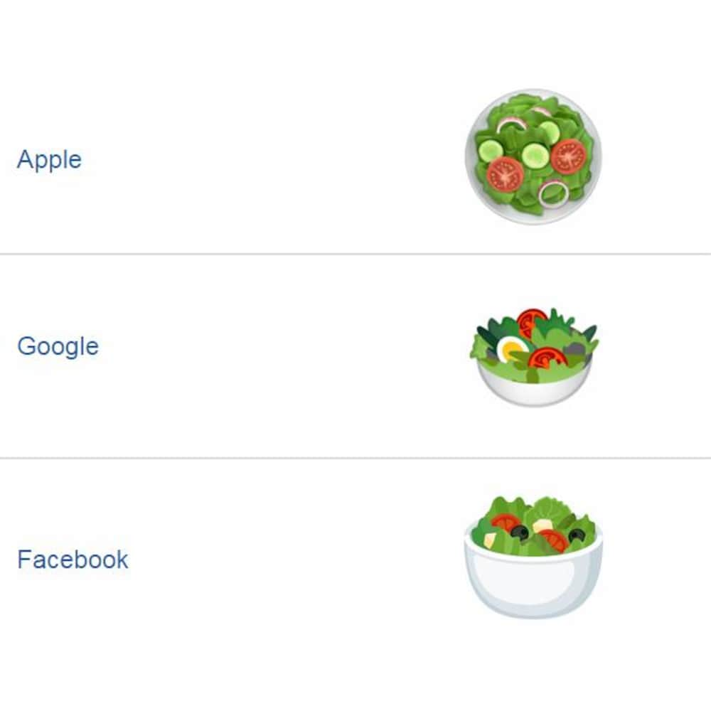 Une illustration contenant trois dessins de salades l'un par-dessus l'autre. À côté de chaque salade, le nom d'une compagnie apparaît. Dans l'ordre, à partir du haut : Apple, Google et Facebook. La première salade contient de la laitue, des tomates, des concombres et des oignons rouges. La deuxième, des tomates et un œuf dur coupé en deux. La troisième, des tomates, des olives noires et de petits cubes blancs.