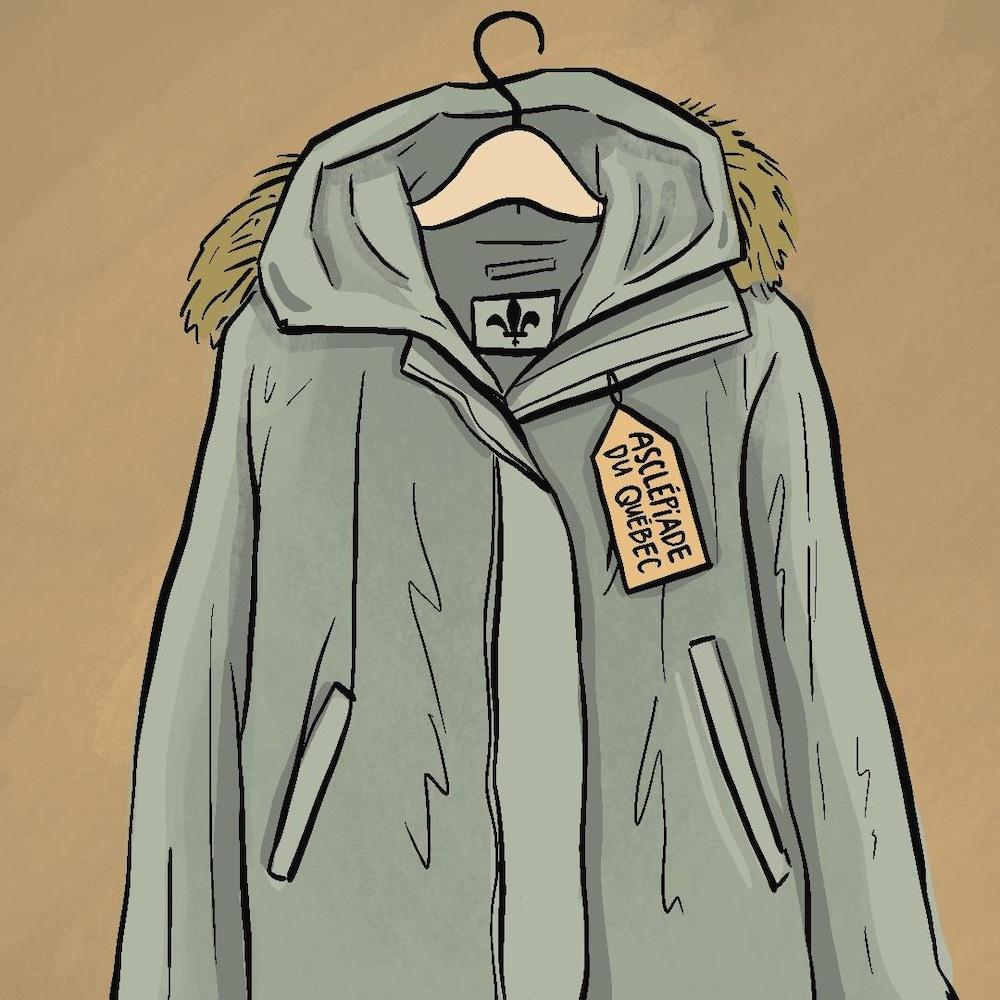 Illustration d'un manteau sur un crochet, avec une étiquette disant « Asclépiade du Québec »