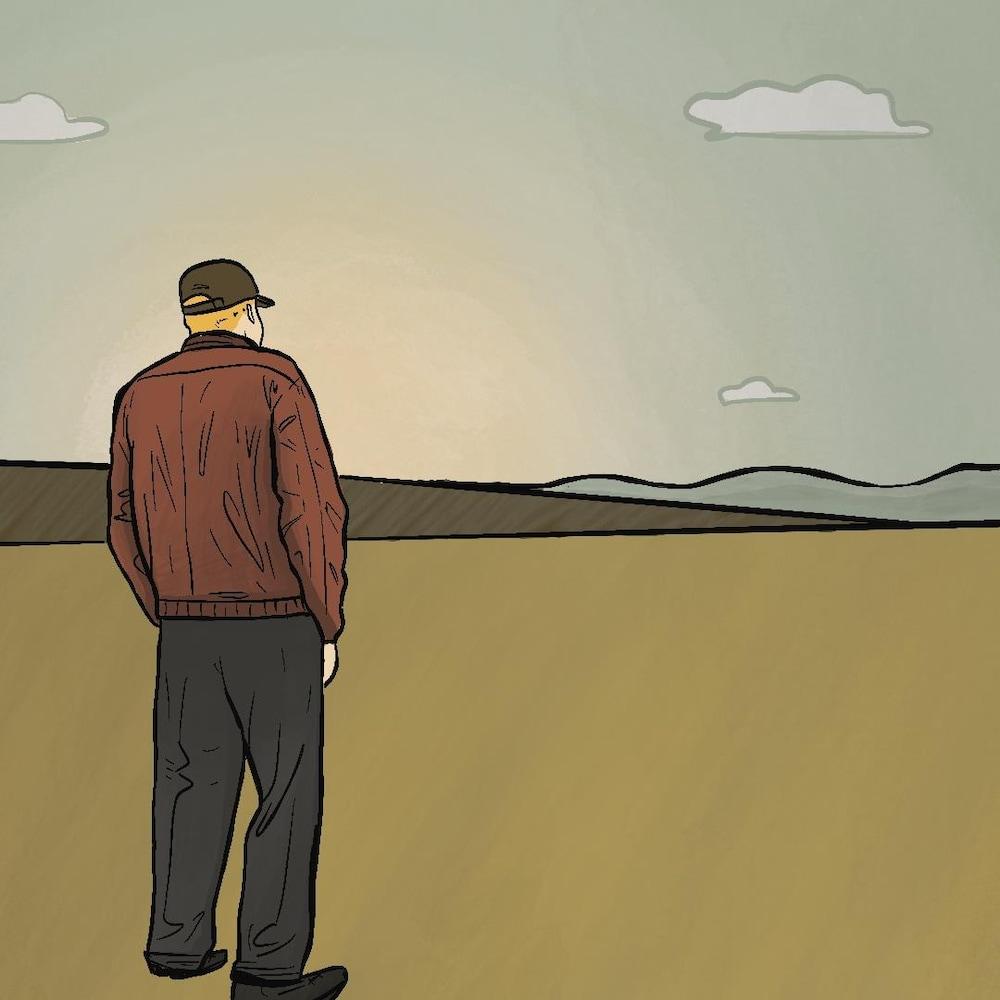 Illustration d'un agriculteur, de dos, qui regarde un champ.