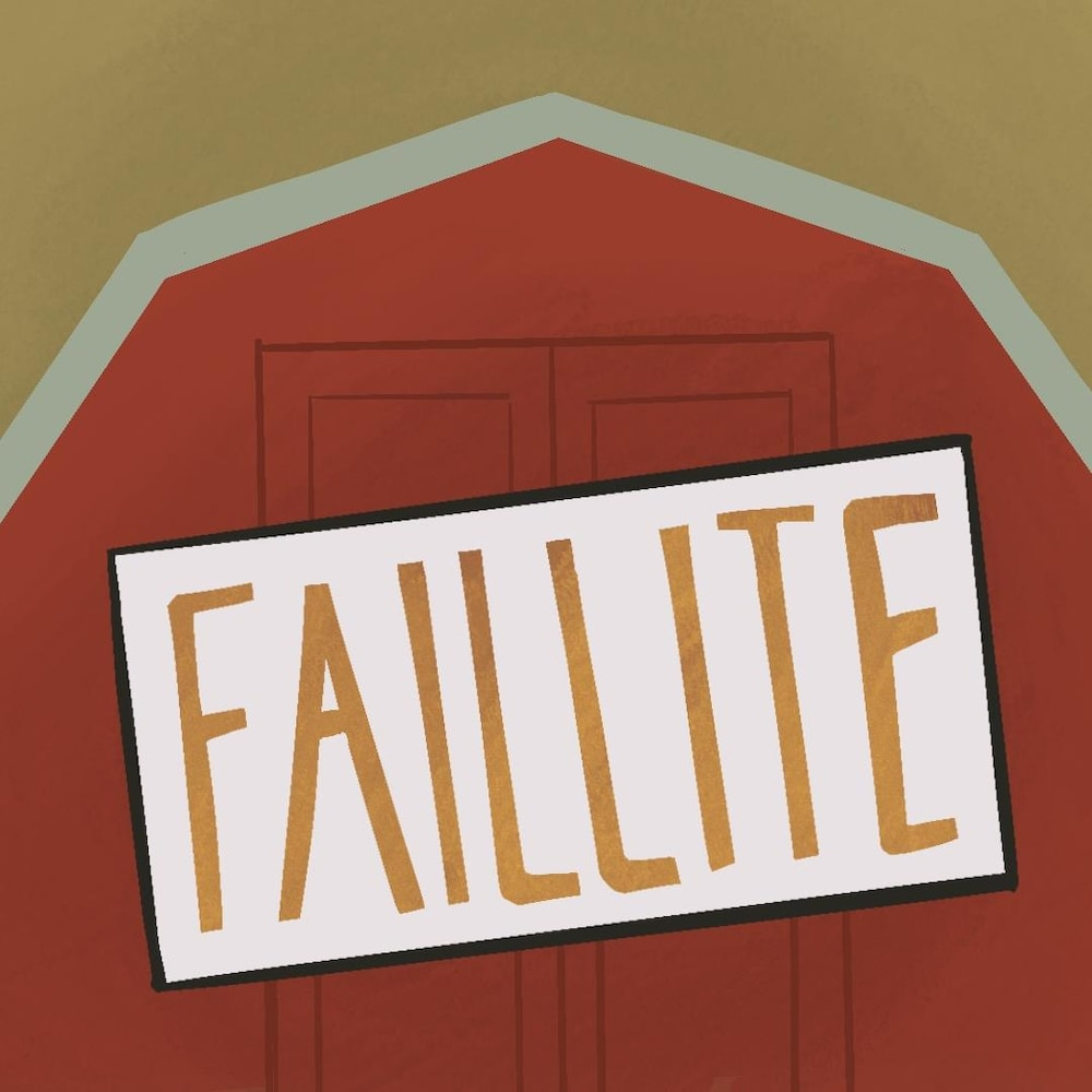 Illustration : silhouette de ferme avec une affiche « faillite » par-dessus.