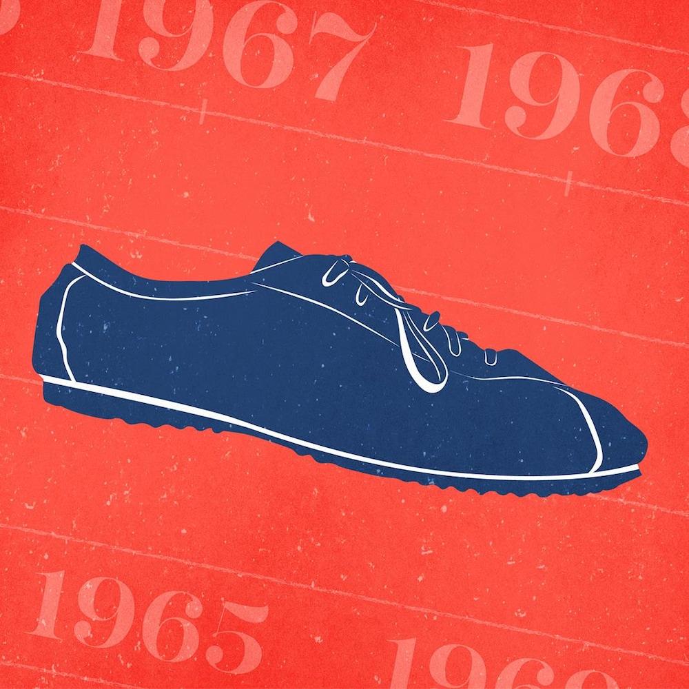 Illustration d'un soulier ancien sur fond représentant des dates sur une piste d'athlétisme.