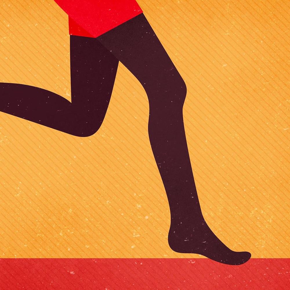 Illustration d'une silhouette de jambes qui courent, sur fond jaune et rouge.