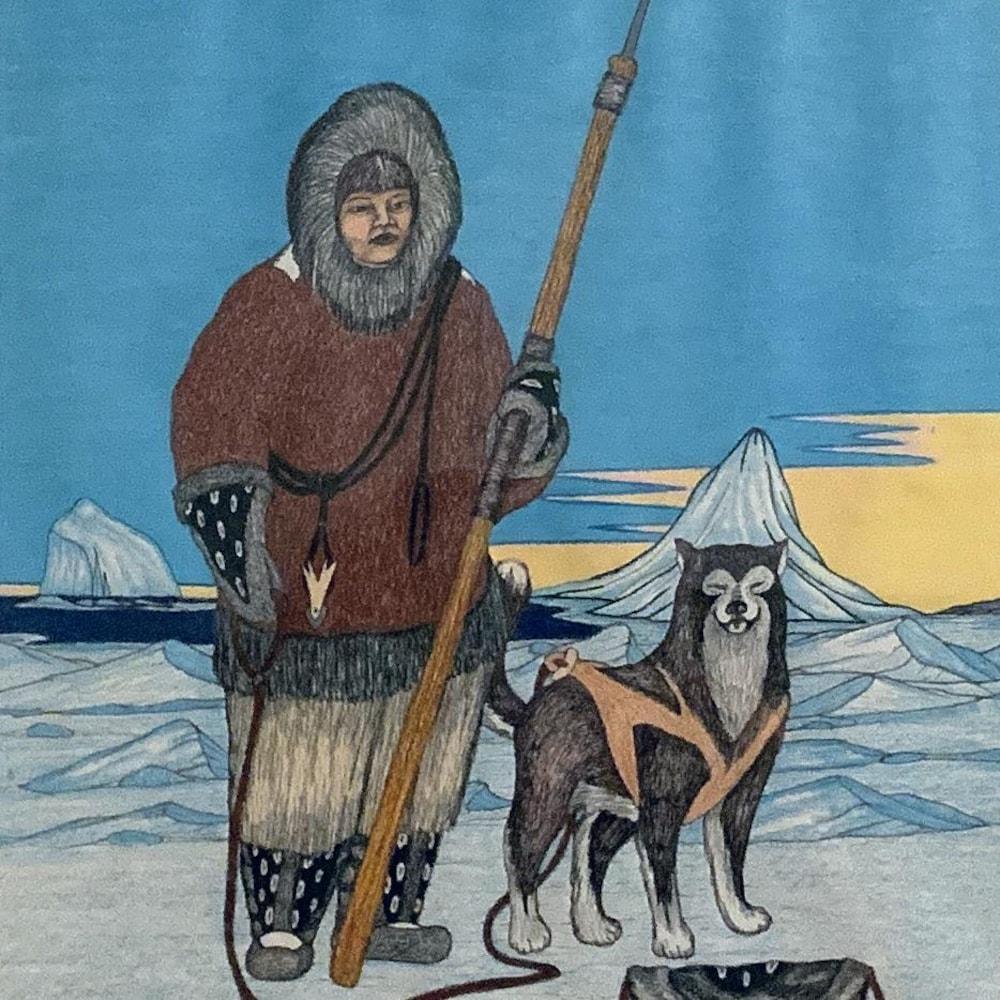 Toile de l'artiste représentant un chasseur et son chien.