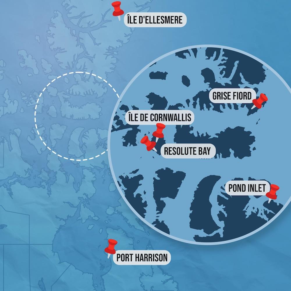 Carte des lieux : Grise Fiord, île d'Ellesmere, île de Cornwallis, Resolute Bay, Pond Inlet et Port Harrison.