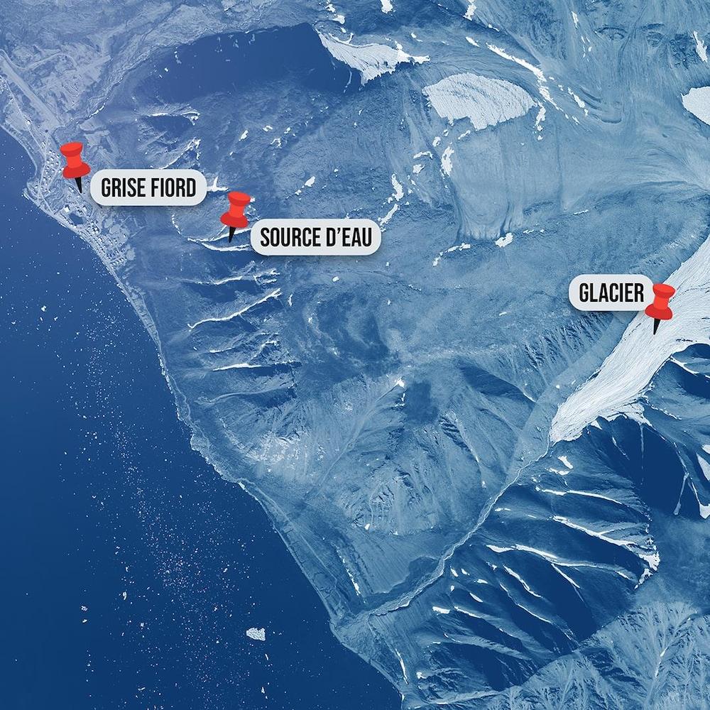 Carte montrant l'emplacement de Grise Fiord et du glacier.