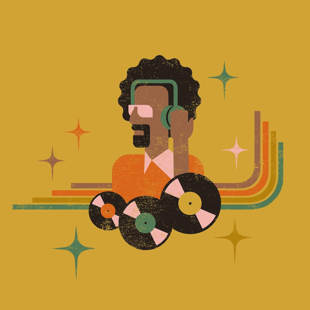 Illustration représentant des disques et un homme portant un casque d'écoute.