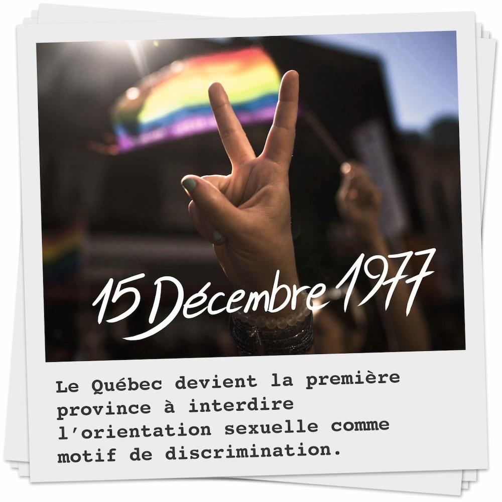 Le 15 décembre 1977, le Québec devient la première province à interdire l'orientation sexuelle comme motif de discrimination.