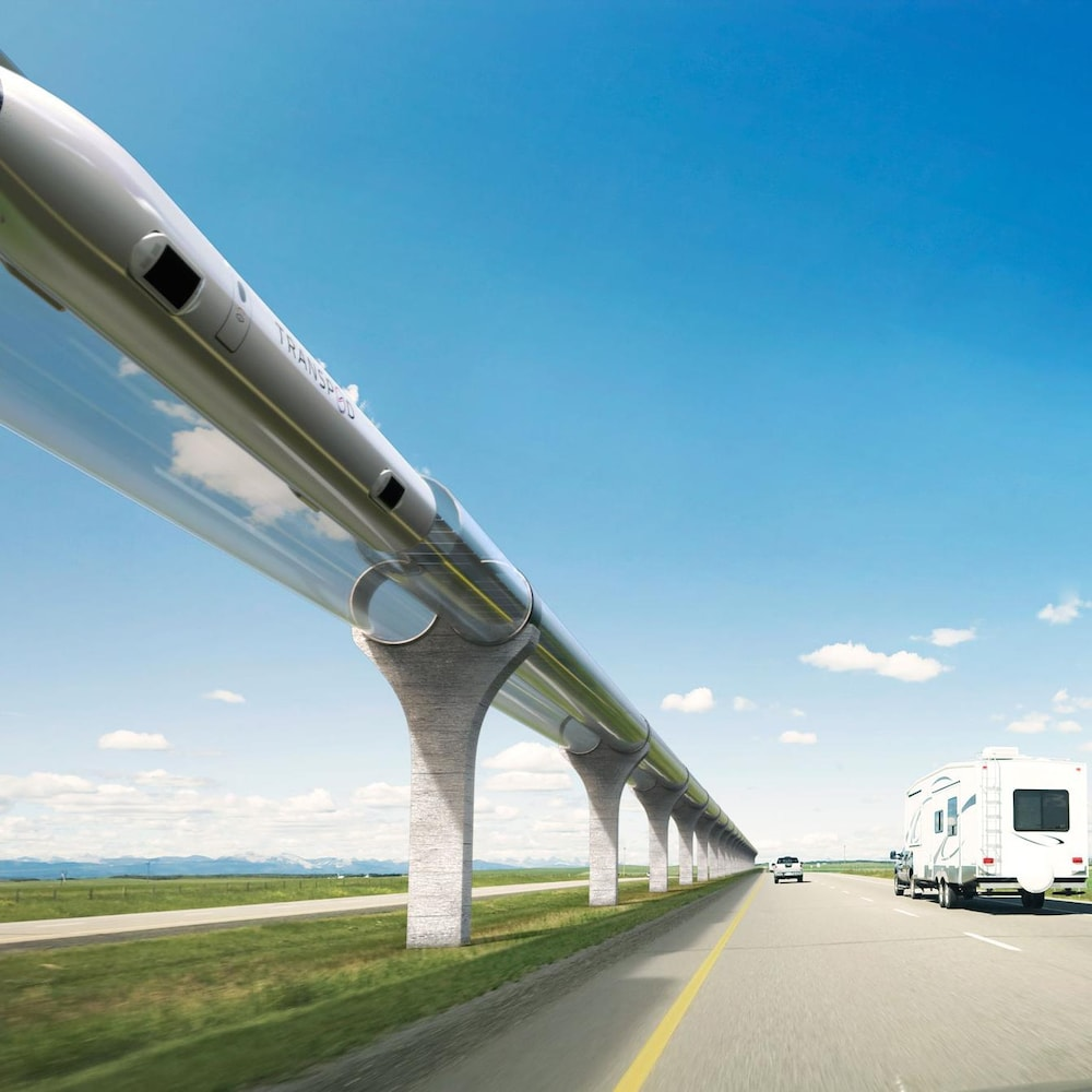 Un système de transport  hyperloop.