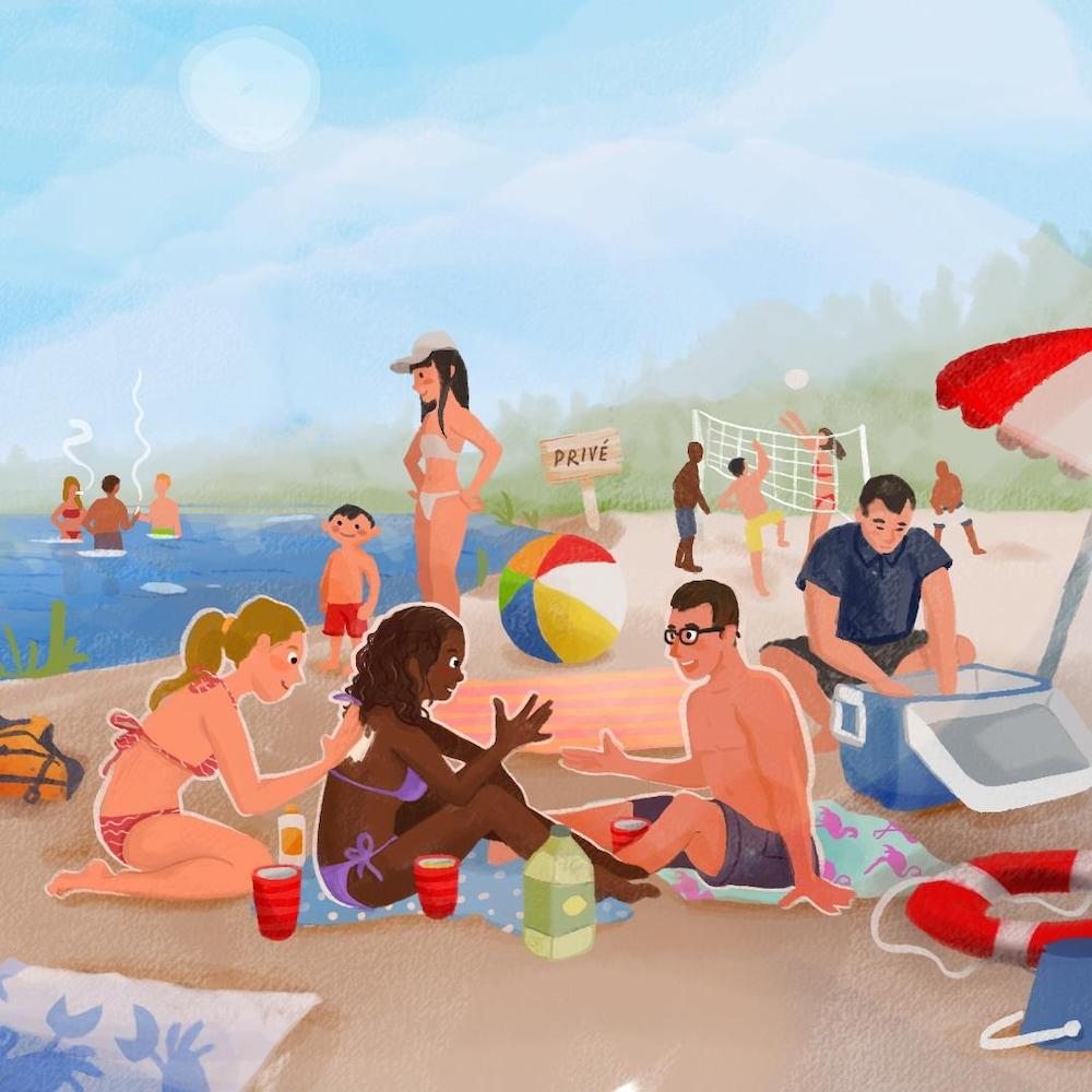 Des réunis sont rassemblés à la plage.