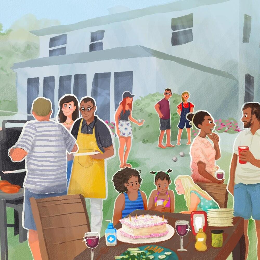 Des gens sont réunis autour d'un barbecue et d'une piscine pour l'anniversaire d'un enfant.