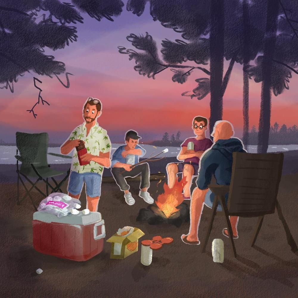 Des amis sont réunis autour d'un feu.