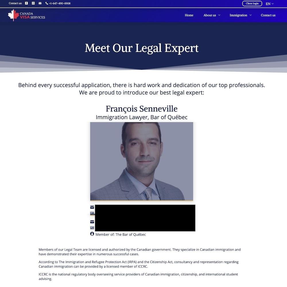 Une page web avec une photo et une description.