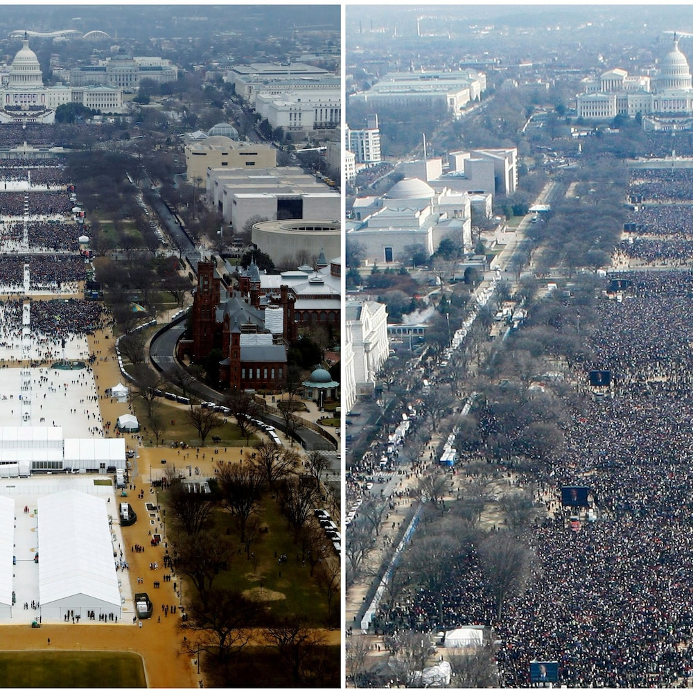 Photo de gauche : une foule assiste à la cérémonie d'investiture de Donald Trump devant la Maison-Blanche, à Washington, mais à plusieurs endroits, la foule est parsemée. À droite : la même prise de vue montre une foule beaucoup plus grande pour celle de son prédécesseur.