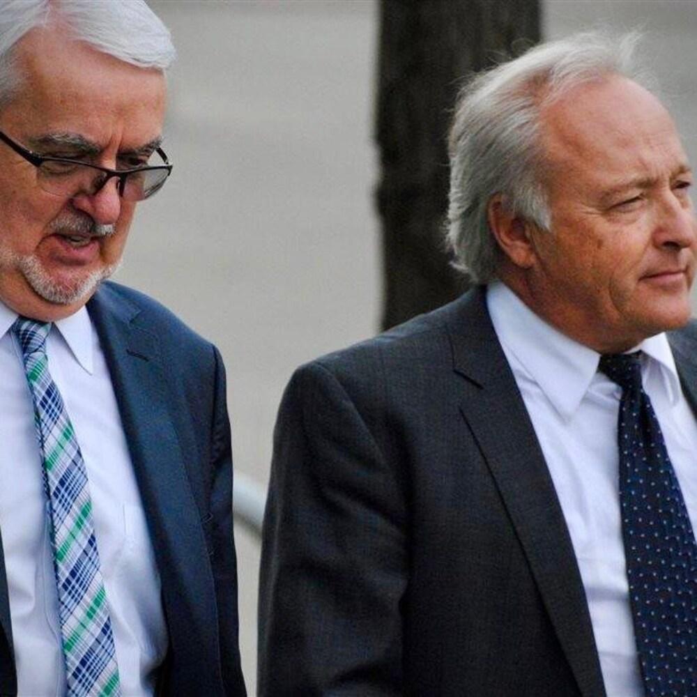 Le juge Michel Girouard, à droite, et un de ses avocats, Me Louis Masson