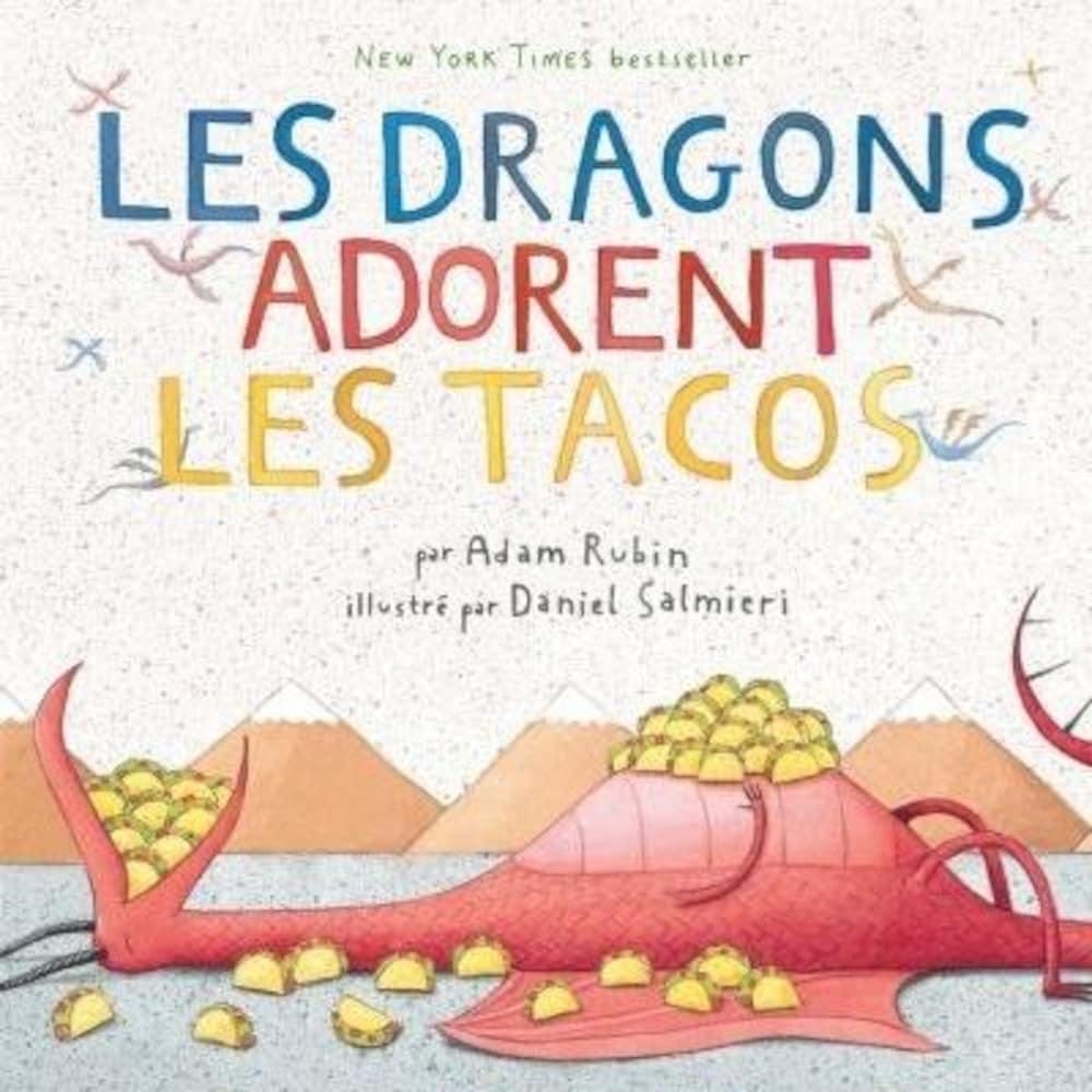 Un dragon rouge mange plein de tacos.