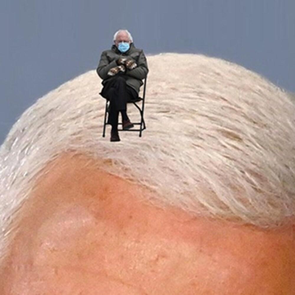 Bernie Sanders sur une chevelure blanche.