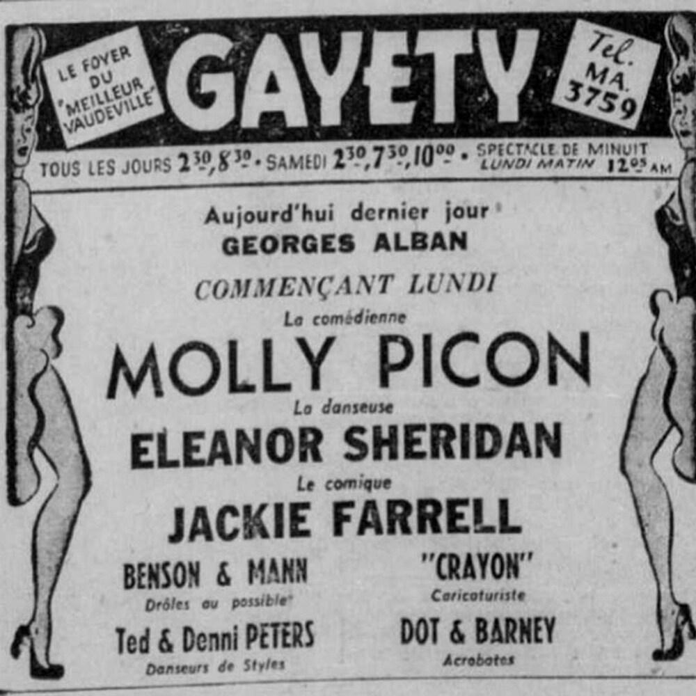 Une coupure publicitaire de journal montrant deux femmes exhibant leur cuisse et annonçant un spectacle.