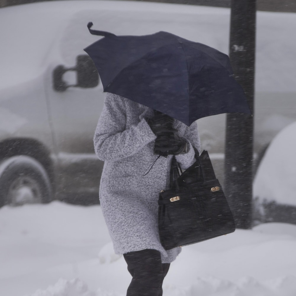 Une piétonne sous un parapluie marche dans la neige.