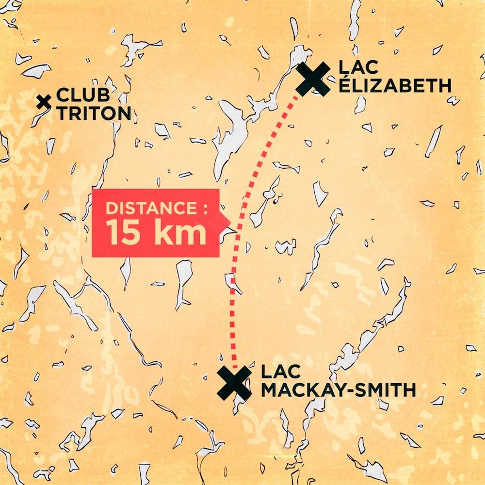 Le lac Élizabeth et le lac Mackay-Smith sont situés à 15km l'un de l'autre.