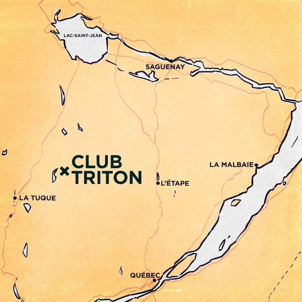 Carte situant le club Triton entre Québec et le lac Saint-Jean