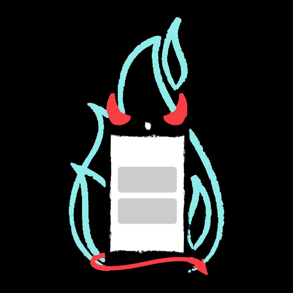 Un téléphone cellulaire avec des cornes et une queue de démon, devant une flamme.