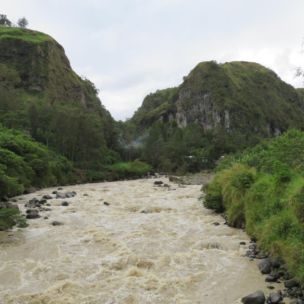 Une rivière dans un paysage montagneux et verdoyant.