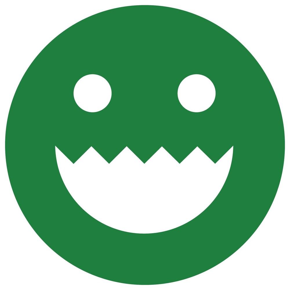 Une image d'un cercle vert sur lequel est dessiné un visage composé de deux yeux ronds et d'un sourire en demi-cercle. La lèvre supérieure du sourire est formée de pointes.