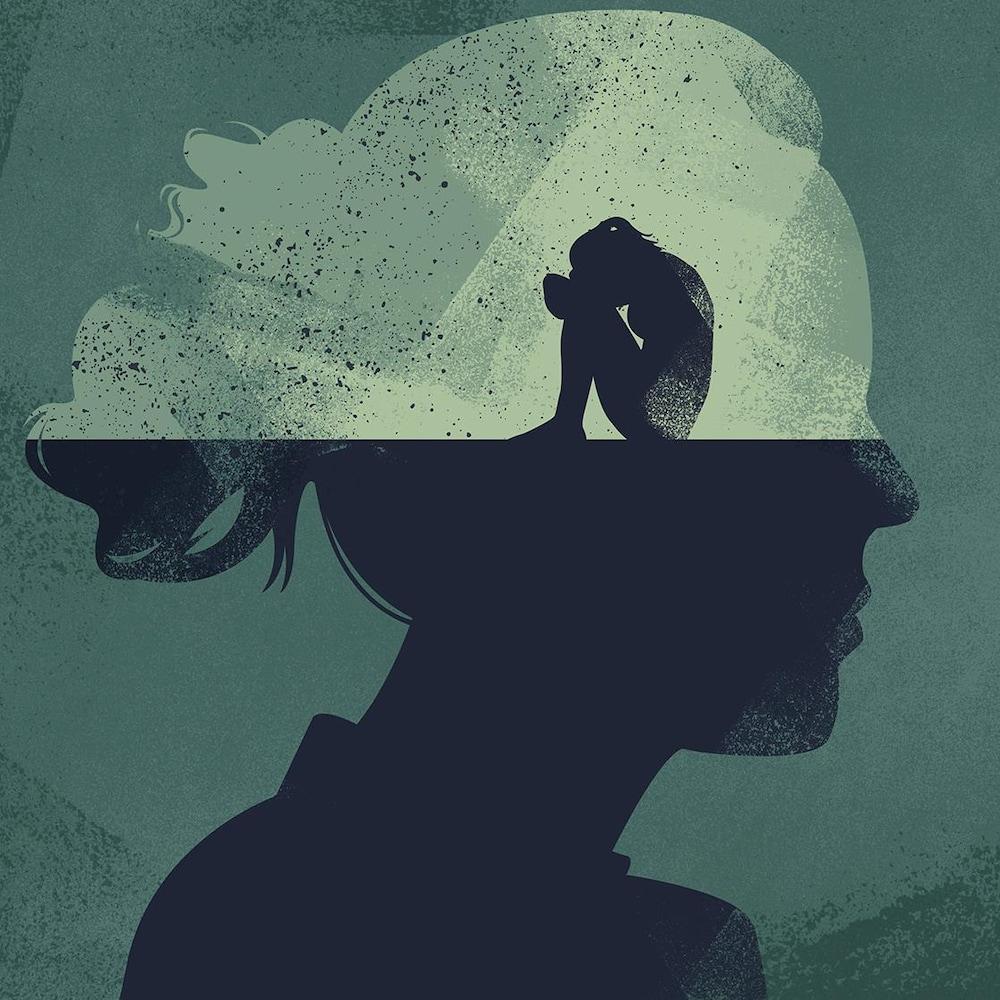 Illustration d'une femme recroquevillée triste et désemparée dans sa propre tête.