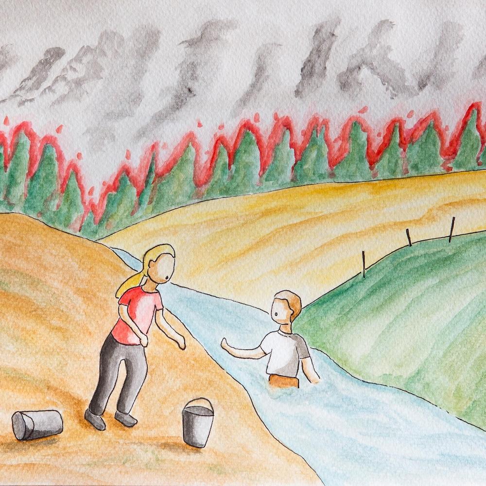 Un homme est dans la rivière et une femme s'apprête à sauter à l'eau.