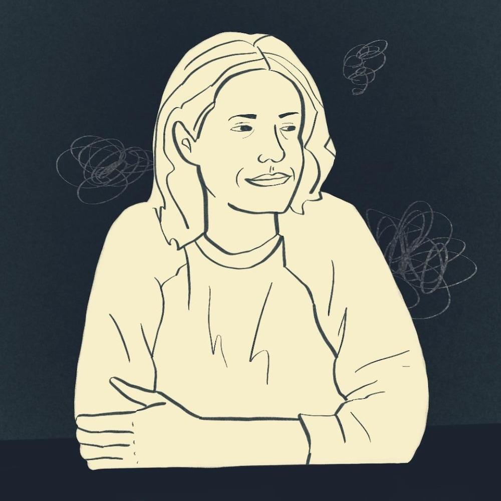Illustration d'une femme appuyée sur une table.