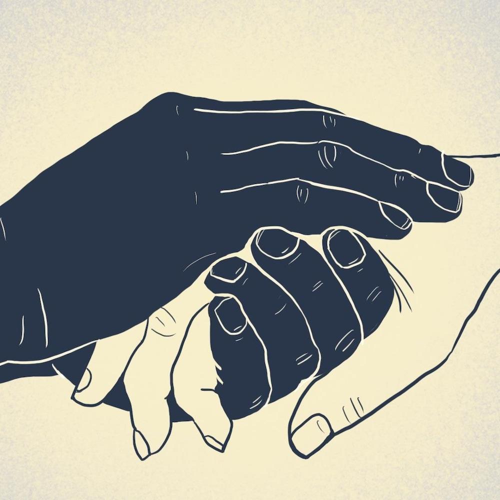 Illustration e mains qui tiennent la main de quelqu'un d'autre.