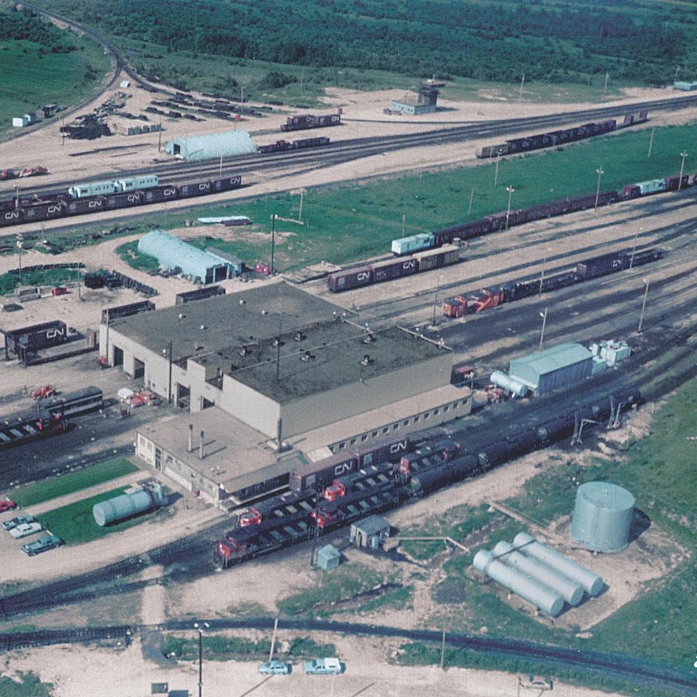 Photo aérienne de la cours de triage.